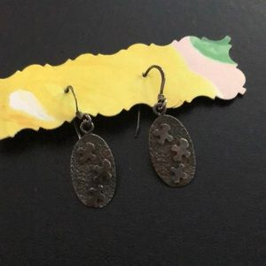 Pewter and distressed-look abstract earrings